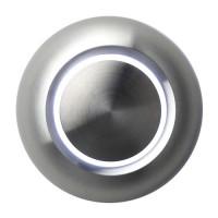Bouton de sonnette design illuminé, rond, face en aluminium, sur-crépi