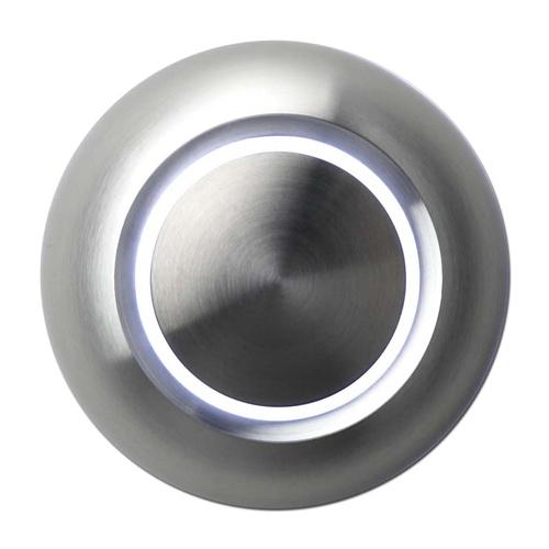 Bouton de sonnette design illuminé, rond, face en aluminium, LED blanc, sur-crépi