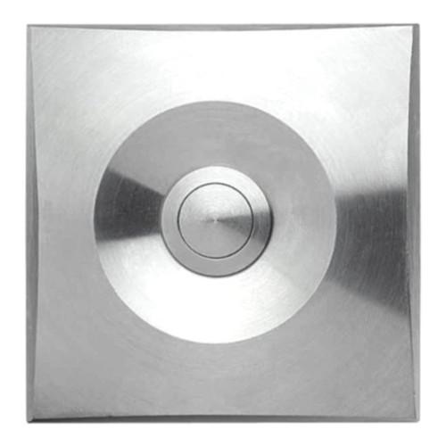 Bouton sonnette carré, acier raffiné massif, sur-crépi